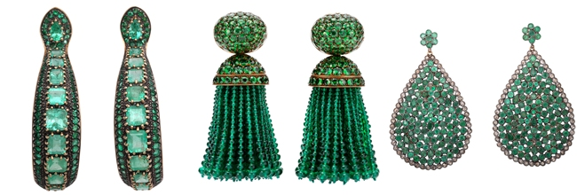 Luxury earrings with green stones