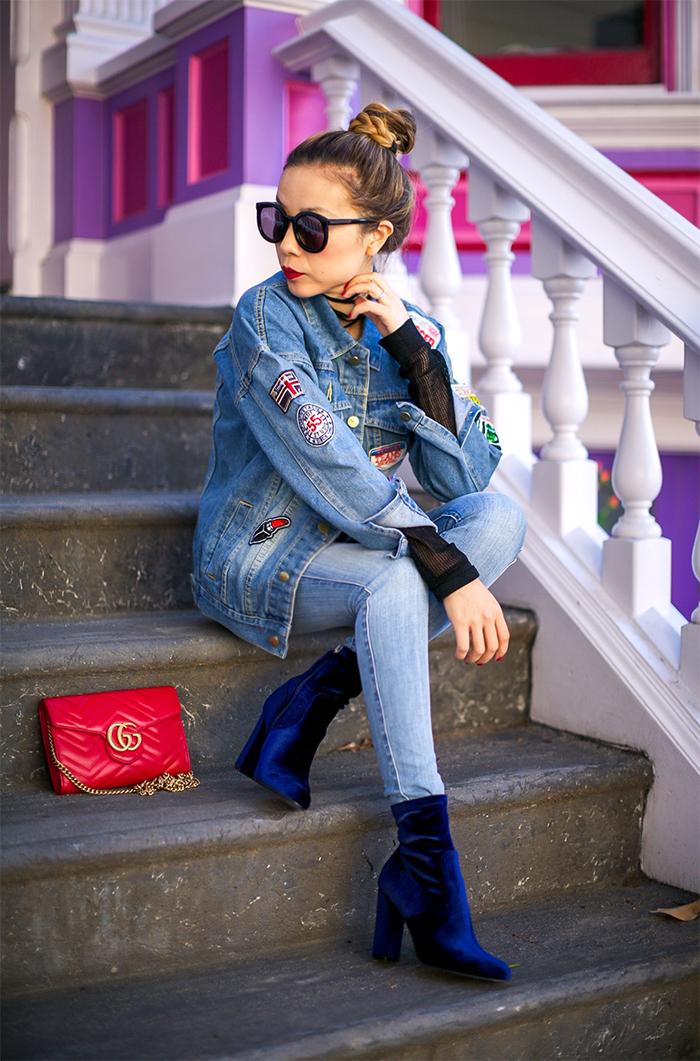 patched denim jacket, denim on denim, double denim, 7fam skinny jeans, gucci marmont bag, steve madden boots, karen walker sunglasses, baublebar earrings, san francisco street style, san francisco fashion blog