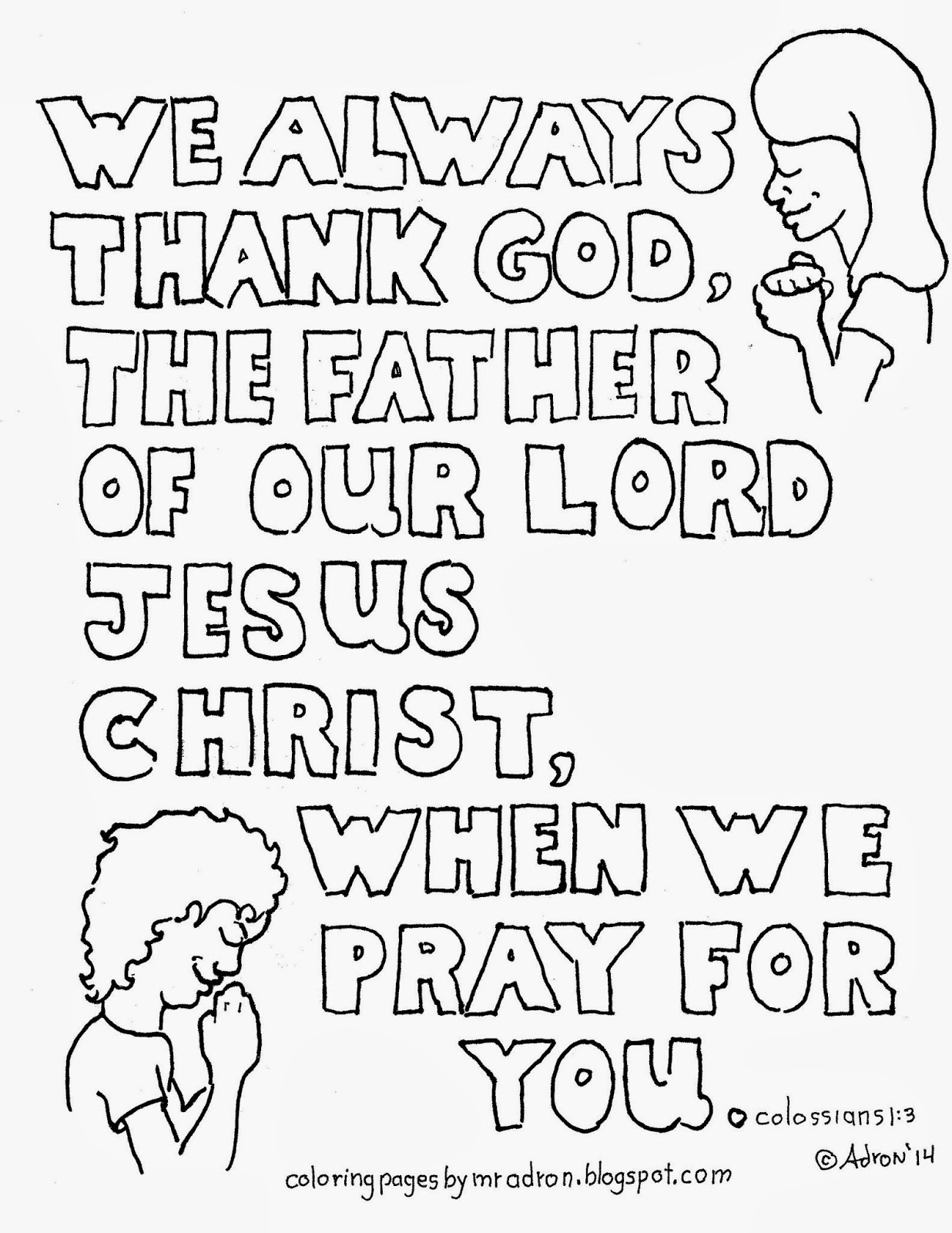 Coloring Pages for Kids by Mr. Adron: Colossians 1:3 Free