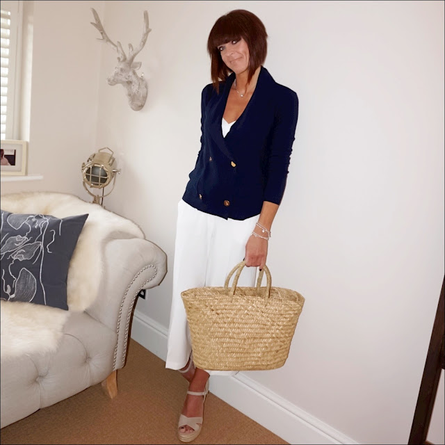 My Midlife Fashion, mango flowy strap top, the white company cross front espadrille wedges, the white company straw basket bag, ralph laurenn lauren double breasted cardigan, marks and spencer cropped culottes