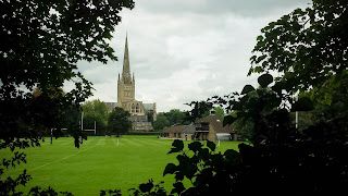 View of Norwich Cathedral across the playing fields