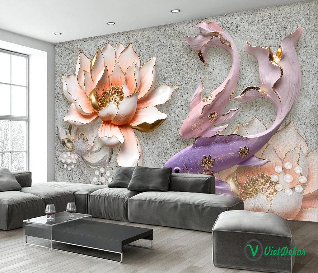 Tranh 3d dán tường hoa sen cá chép ngọc