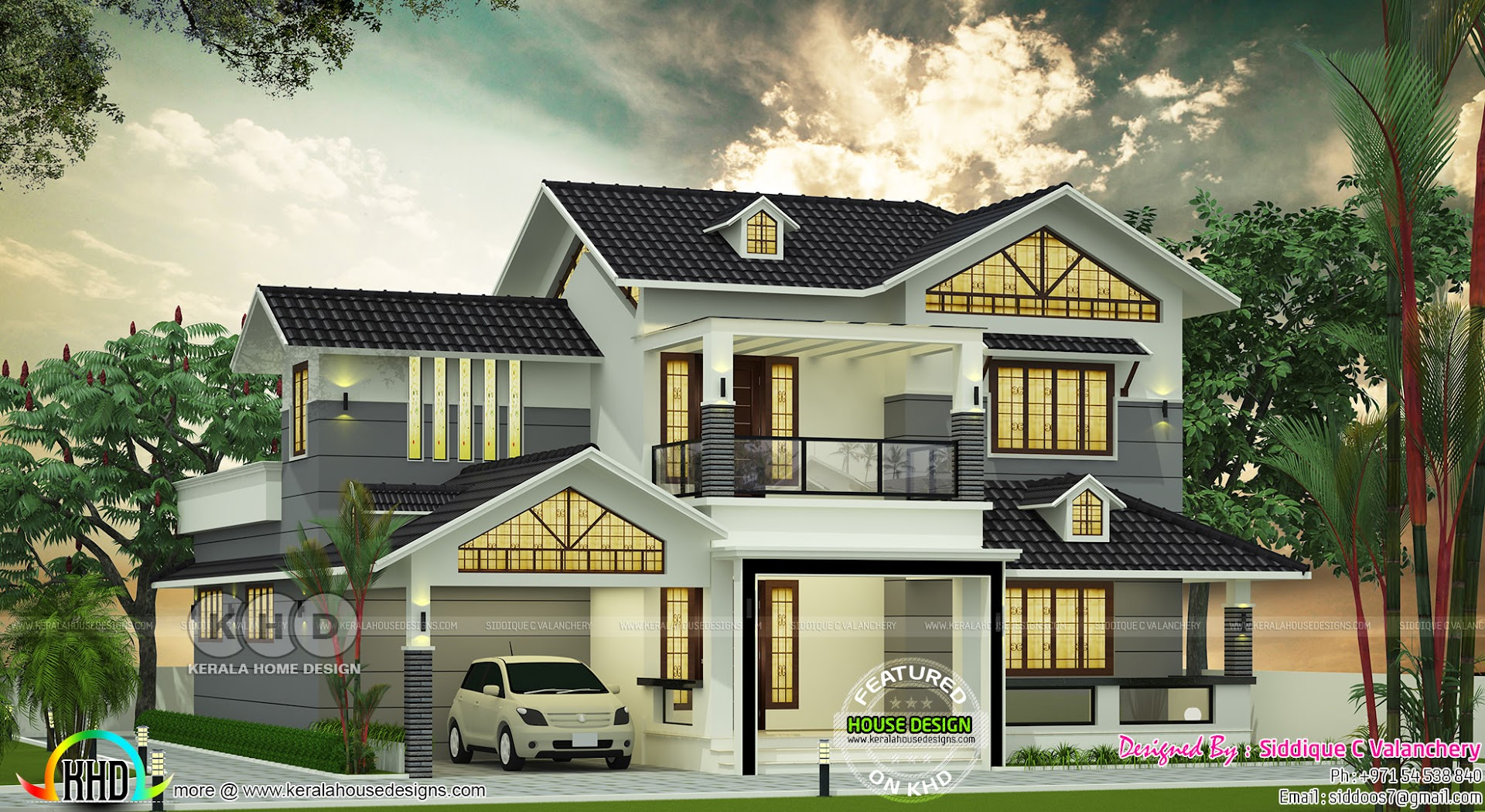 Nice Looking Sloping Roof 4 Bedroom House 2390 Sq Ft Kerala Home Design And Floor Plans 8000 Houses