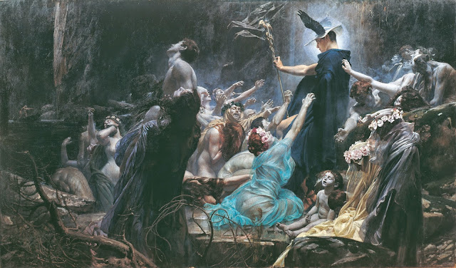 The Souls of Acheron by Adolf Hirémy-Hirschl, Macabre Art, Macabre Paintings, Horror Paintings, Freak Art, Freak Paintings, Horror Picture, Terror Pictures