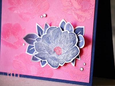 Stampin' Up! rosa Mädchen Kulmbach: Stamp A(r)ttack Blog Hop: Embossing – Geburtstagskarten mit Trapped Emboss Resist Technik in Wassermelone und Marineblau mit Florale Freude