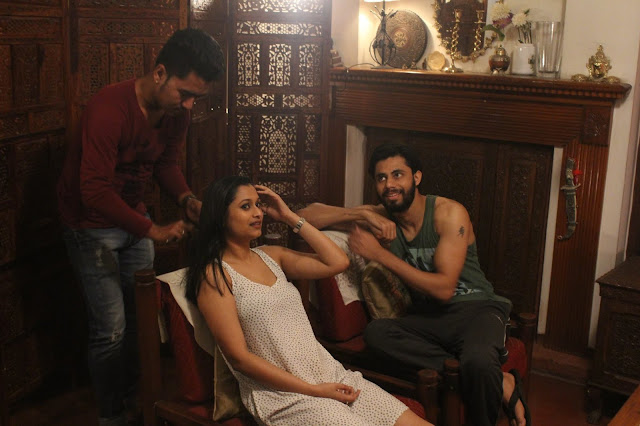 The leads of Qissbah getting ready for the shoot