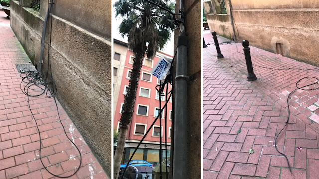 Cables en la calle al alcance de los niños