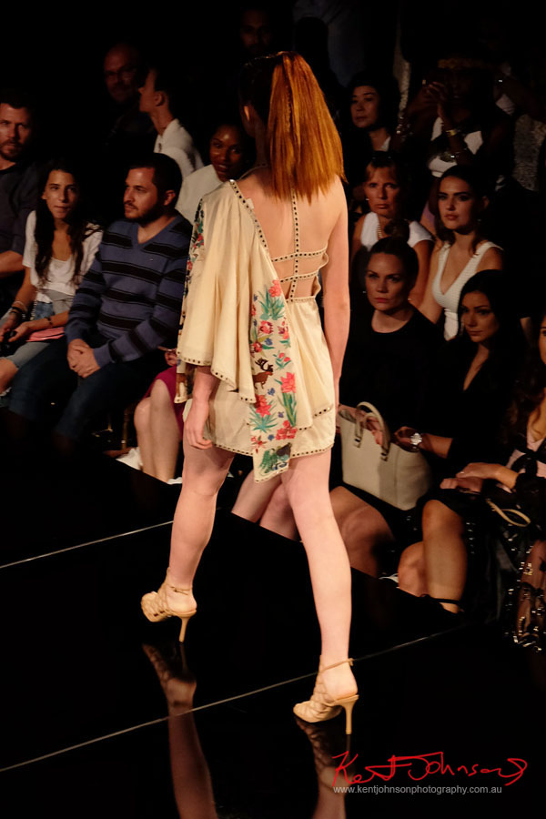 Back detail, dress and jacket off shoulder. Purvi Doshi shows at New York Fashion Week with Art Hearts Fashion. Photography by Kent Johnson for Street Fashion Sydney.