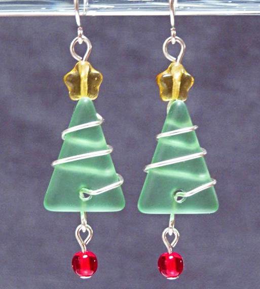 Seaglass Christmas Tree Earrings