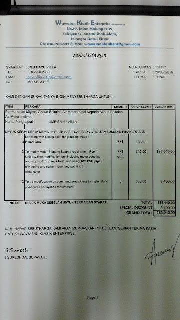 Bayu Villa Apartment Klang Sebut Harga Kerja Pemasangan Paip Baru Daripada Pihak Kontraktor