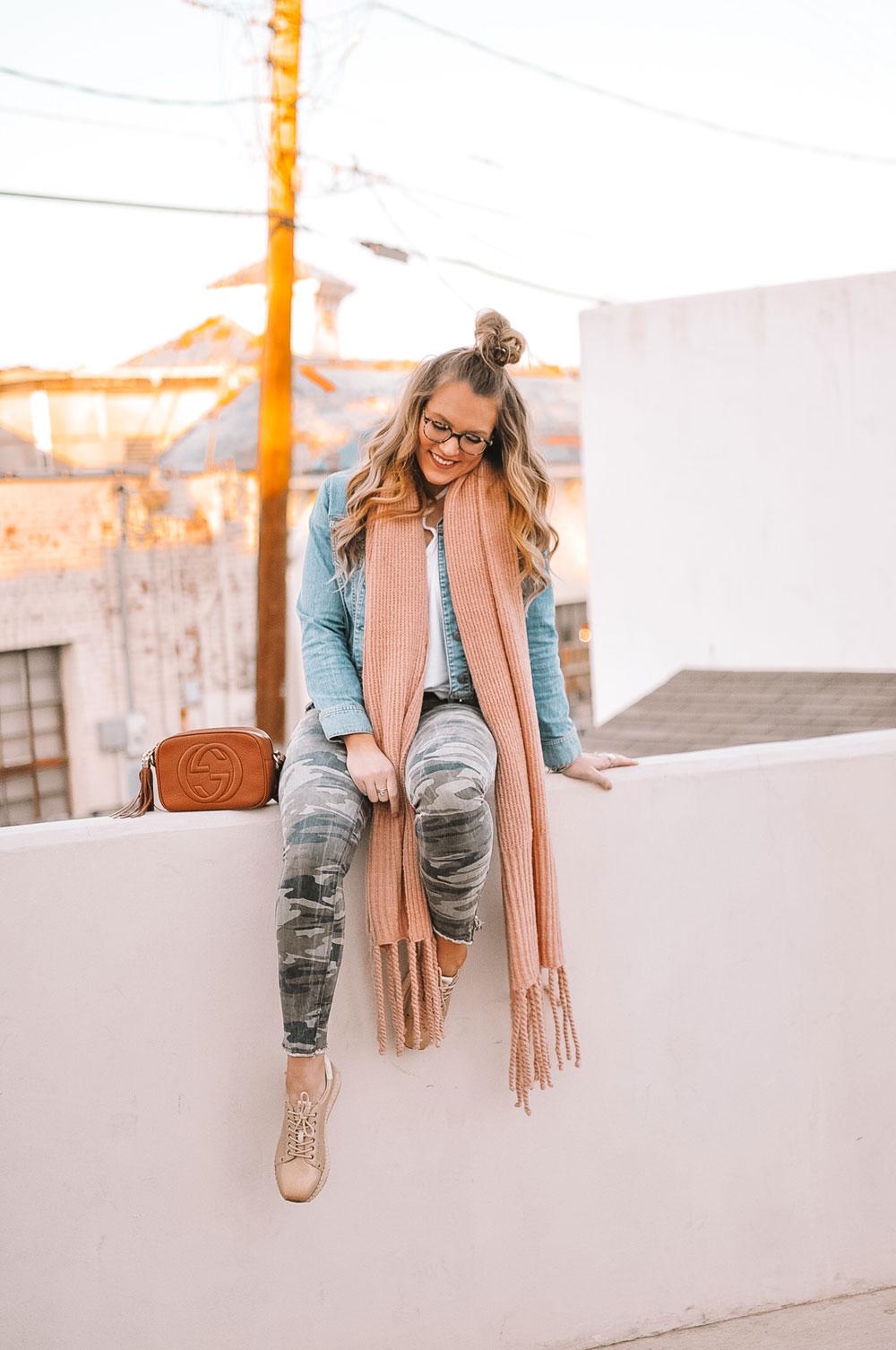 Oklahoma City blogger Amanda Martin in spring transition outfits