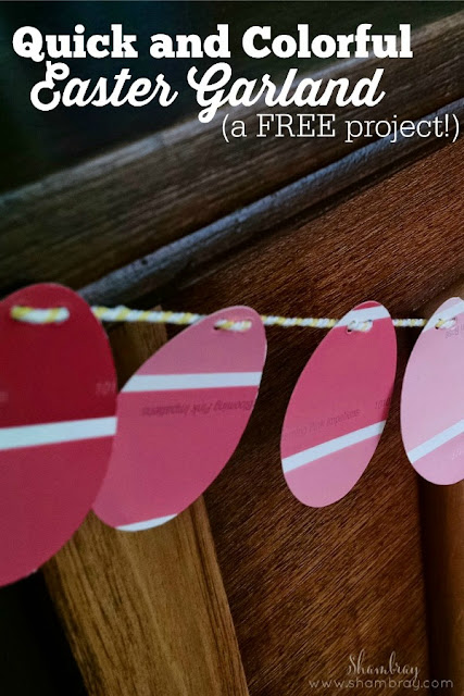 This Easter egg garland can be done so quickly and it is very inexpensive.  Check out the step by step tutorial.