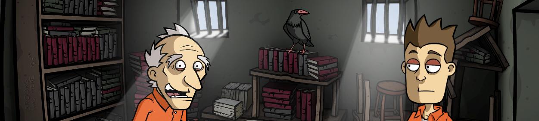 Randal y Brooks en la biblioteca de la cárcel.