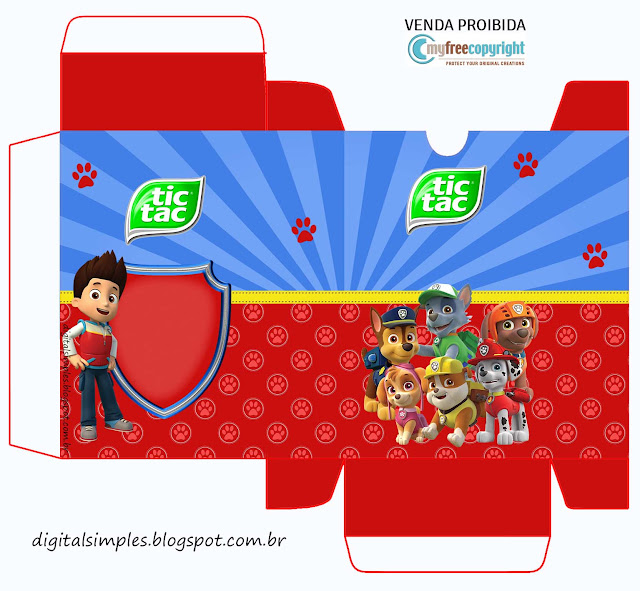 Caja Tic Tac para Imprimir Gratis para Fiesta de Paw Patrol.