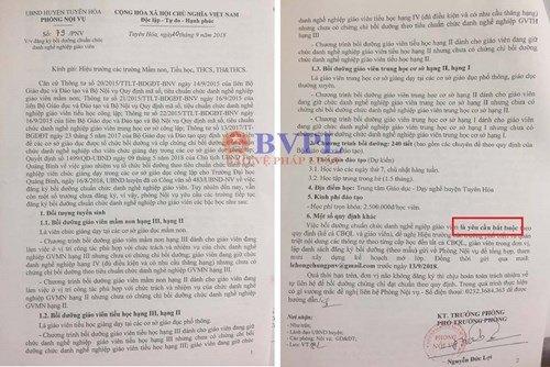 """Phòng nội vụ huyện Tuyên Hóa gửi """"trát"""" về các trường học"""