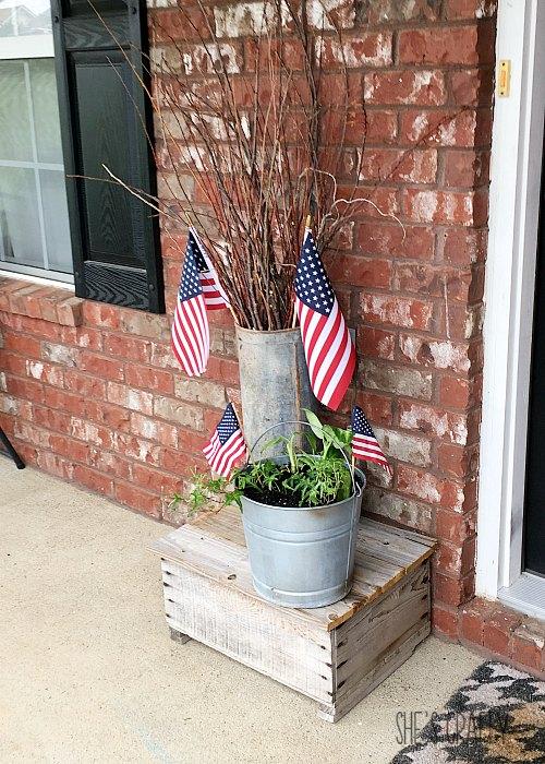 galvanized buckets, flags, sticks