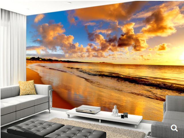 beach wall mural ocean tropical mural nature landscape wallpaper beautiful sunset on the beach 3D photo mural for bedroom living room