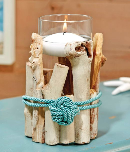 DIY Driftwood Candle Holder Glass Vase Floating Candle Idea
