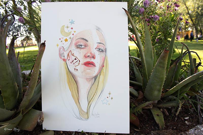 Colaboración Ana Santos y Almu Ruiz. Ilustración bordada