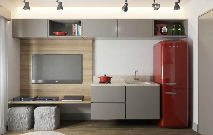Proyecto para un salón-comedor estrecho con cocina integrada
