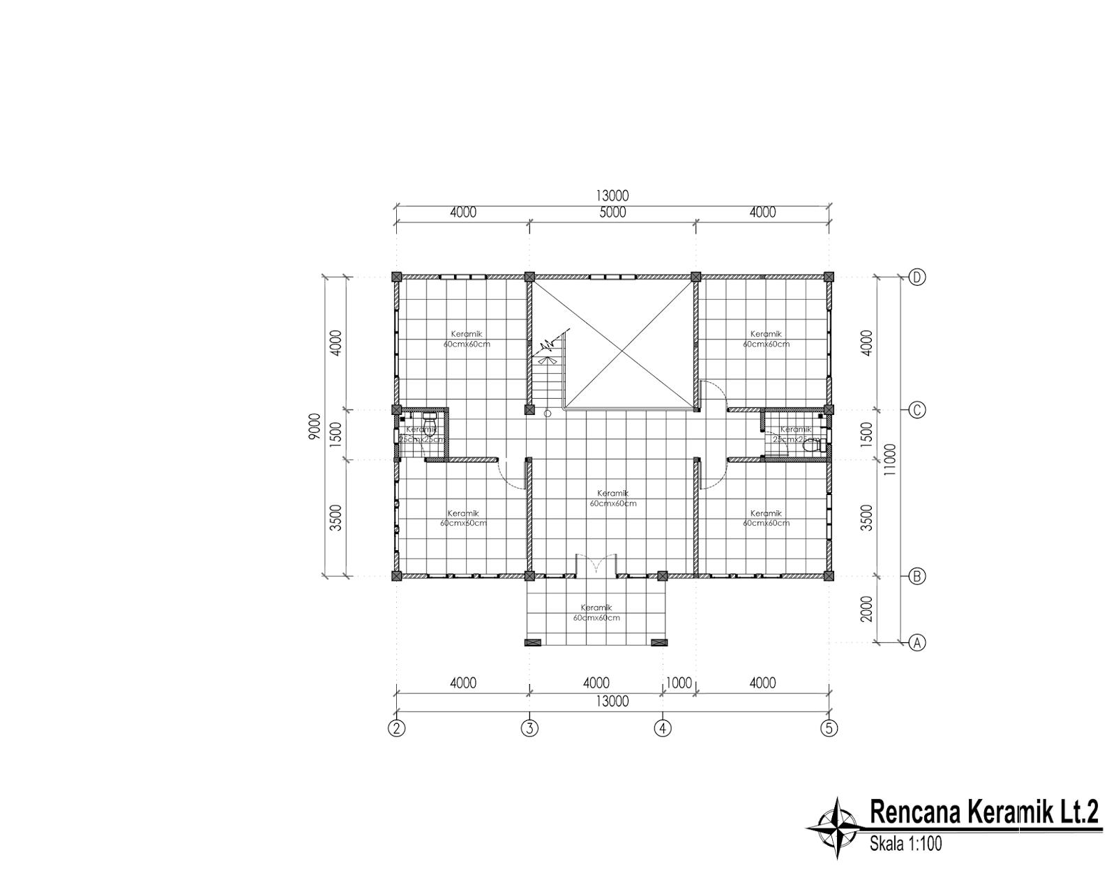 Contoh Gambar Kerja Lengkap Rumah Besar 2 Lantai Di