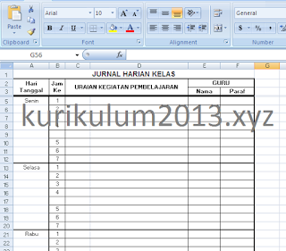 Download Aplikasi Jurnal Harian Kelas Kurikulum 2013 (K13) SD/SMP/SMA/SMK Tahun Pelajaran 2018/2019
