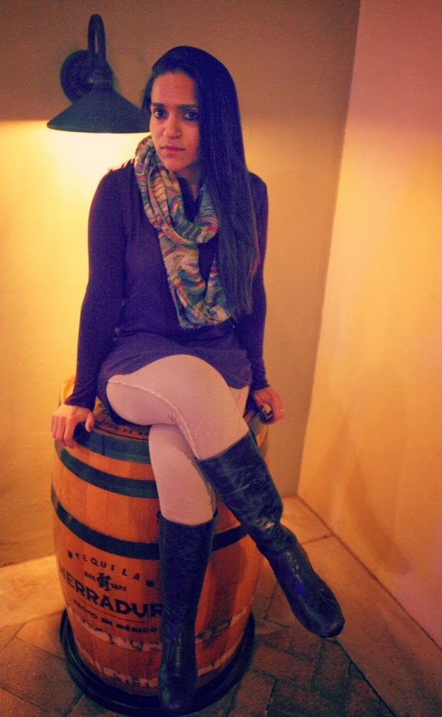 Bella Dahl Top, COS Leggings, Ecco Boots, Urban Outfitters Infinity Scarf, Tanvii.com