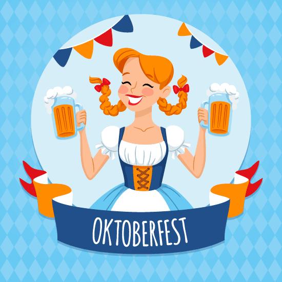 Cartel con simpática Chica rubia Oktoberfest, con tradicional traje de camarera Oktoberfest