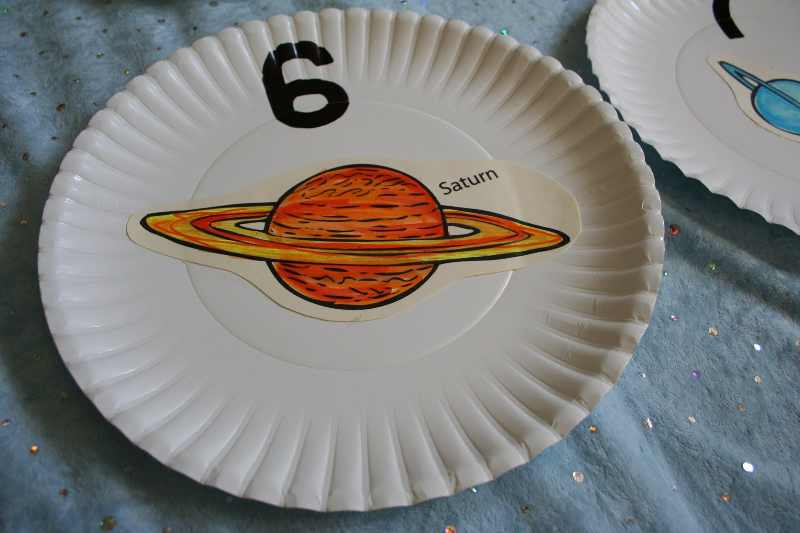 Pink And Green Mama Outer Space Planet Counting Plates