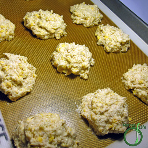 Morsels of Life - Cheddar Bay Biscuits Step 4 - Drop onto baking tray, and bake at 400F for 15 minutes.