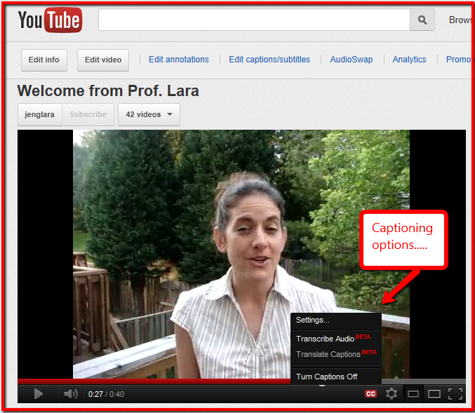 Upcycled Education: Captioning Your YouTube Videos with