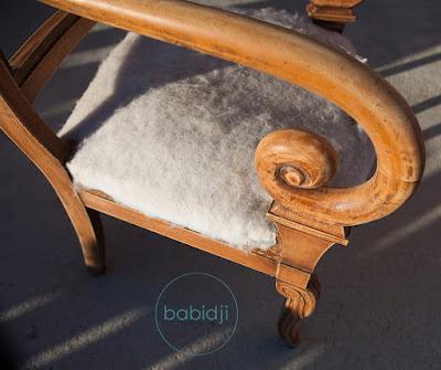 vue sur l'ance du fauteuil après le ponçage