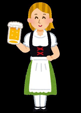 ビアジョッキを持ったドイツ人女性のイラスト
