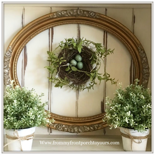 French Country Farmhouse Decor-Gold Frame-Vinatge-Nest-Spring Decor-From My Front Porch To Yours
