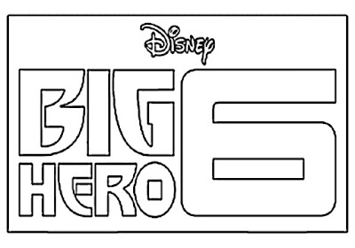 Black and white simple graphic logo Big Hero 6 coloring pages free cartoon kids Disney movie clipart