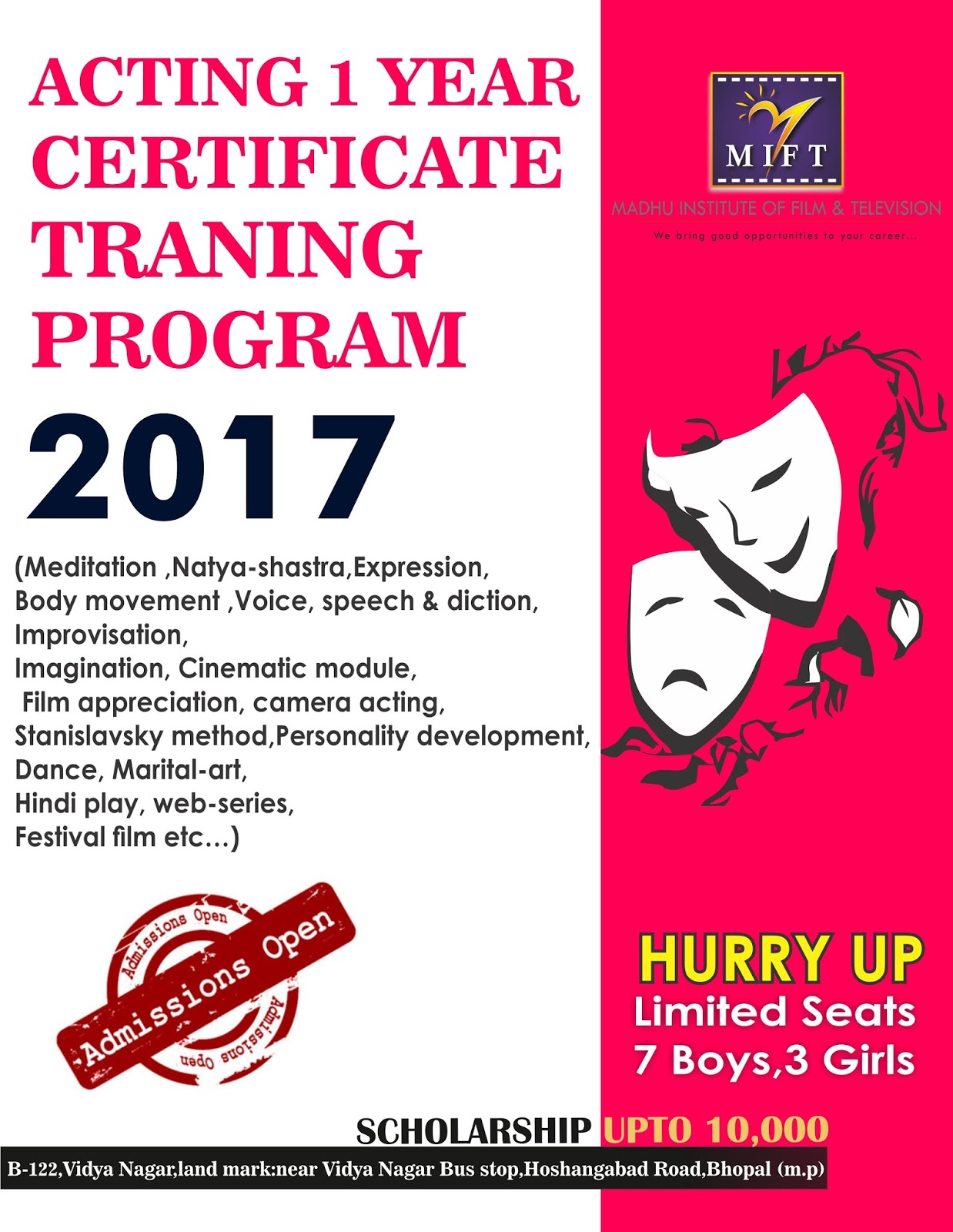 Madhu institute of film and television pvt ltd m i f t registration open acting 1 year certificate training program sept 2k17 madhu institute of film television mift call 7581024036 0755 4055145 yelopaper Choice Image
