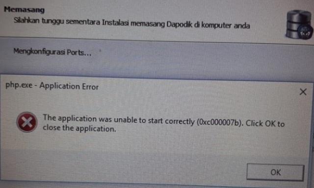 gambar gagal install dapodik 2020