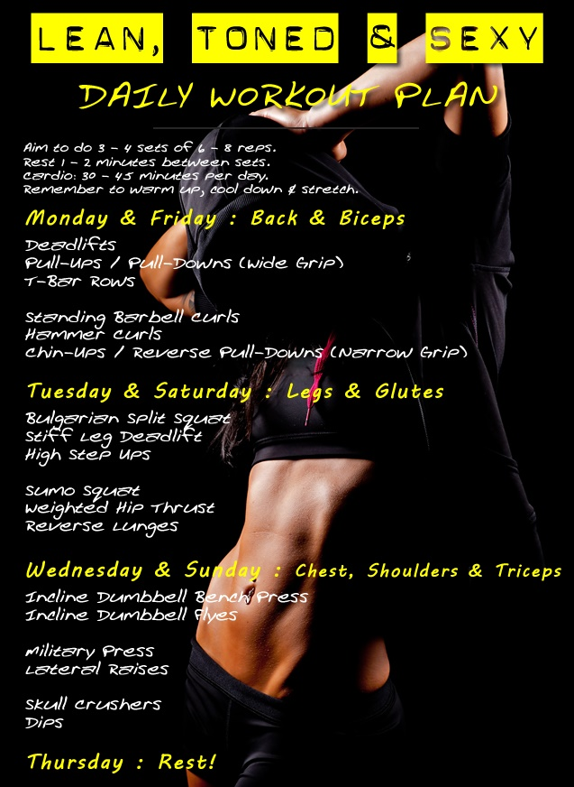 Daily Workout Plan: Lean, Toned & Sexy