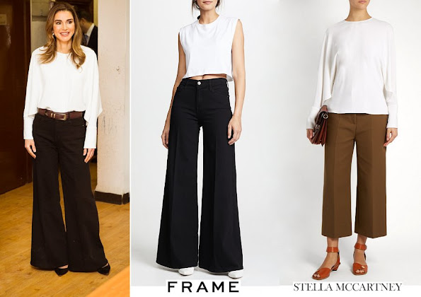 Queen Rania wore FRAME Le Palazzo Pants and STELLA MCCARTNEY Marion Split Sleeve Cady Top