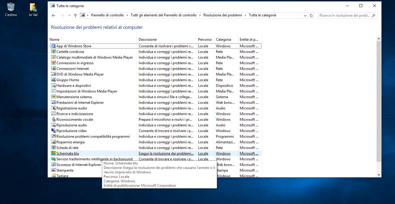 Strumenti per la Risoluzione dei problemi in Windows 10 HTNovo