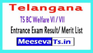 TS BC Welfare VI / VII Entrance Exam Result/ Merit List
