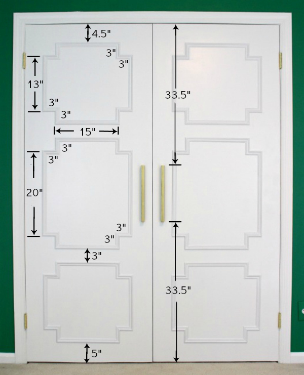The Closet Doors That I Worked On Were Each 30u2033 Wide By 79 1/2u2033 Tall. These  Are The Measurements That I Used To Create My Paneling Pattern: