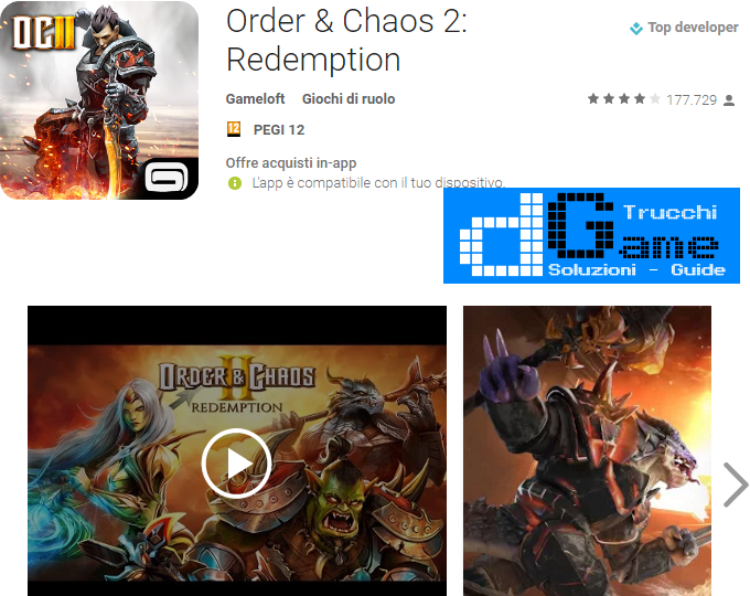 Trucchi Order & Chaos 2 Redemption Mod Apk Android v1.8i