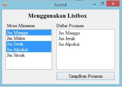 Menggunakan Listbox