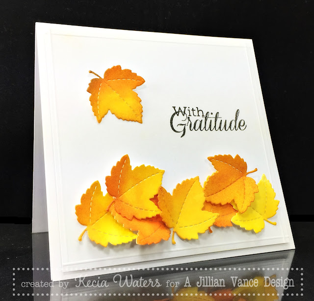 AJVD, Kecia Waters, fall, leaves, Kuretake Watercolor, die-cutting
