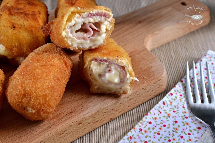 Rollitos de pollo, jamón y queso