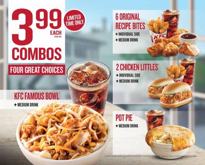 KFC offers many classic chicken meals such as Colonel's Classic, Doublicious, Chicken Littles, and Family Meals that include a mix variety of chicken wings and drumsticks. Make no mistake, even though they are offering healthier grilled chicken meals, KFC still has the famous fried chicken that everyone loves. Below are the latest KFC menu.