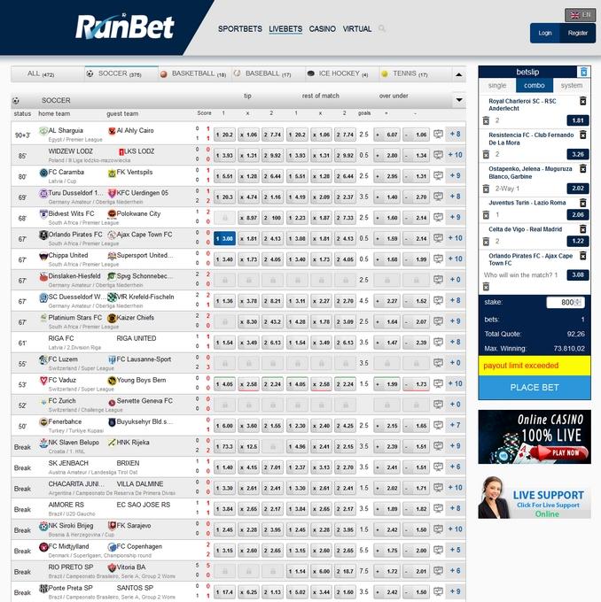 Runbet Live Betting Screen