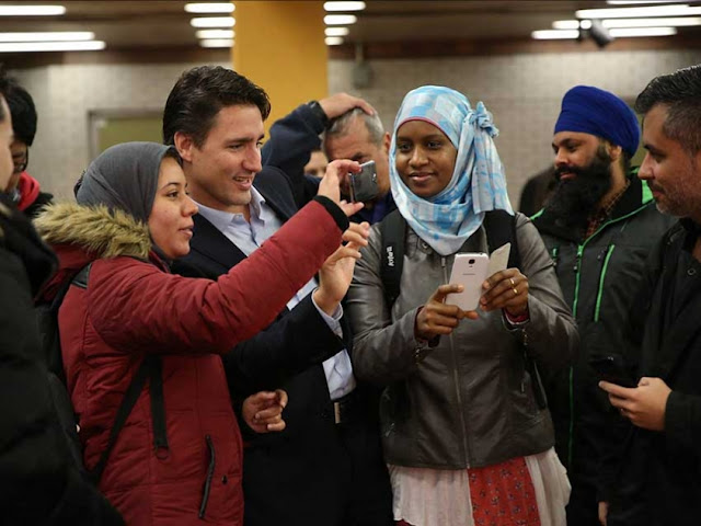 Justin Trudeau with his electoral base