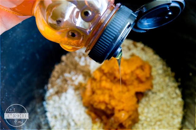 add steel cut oats, pumpkin, and honey to your crock pot